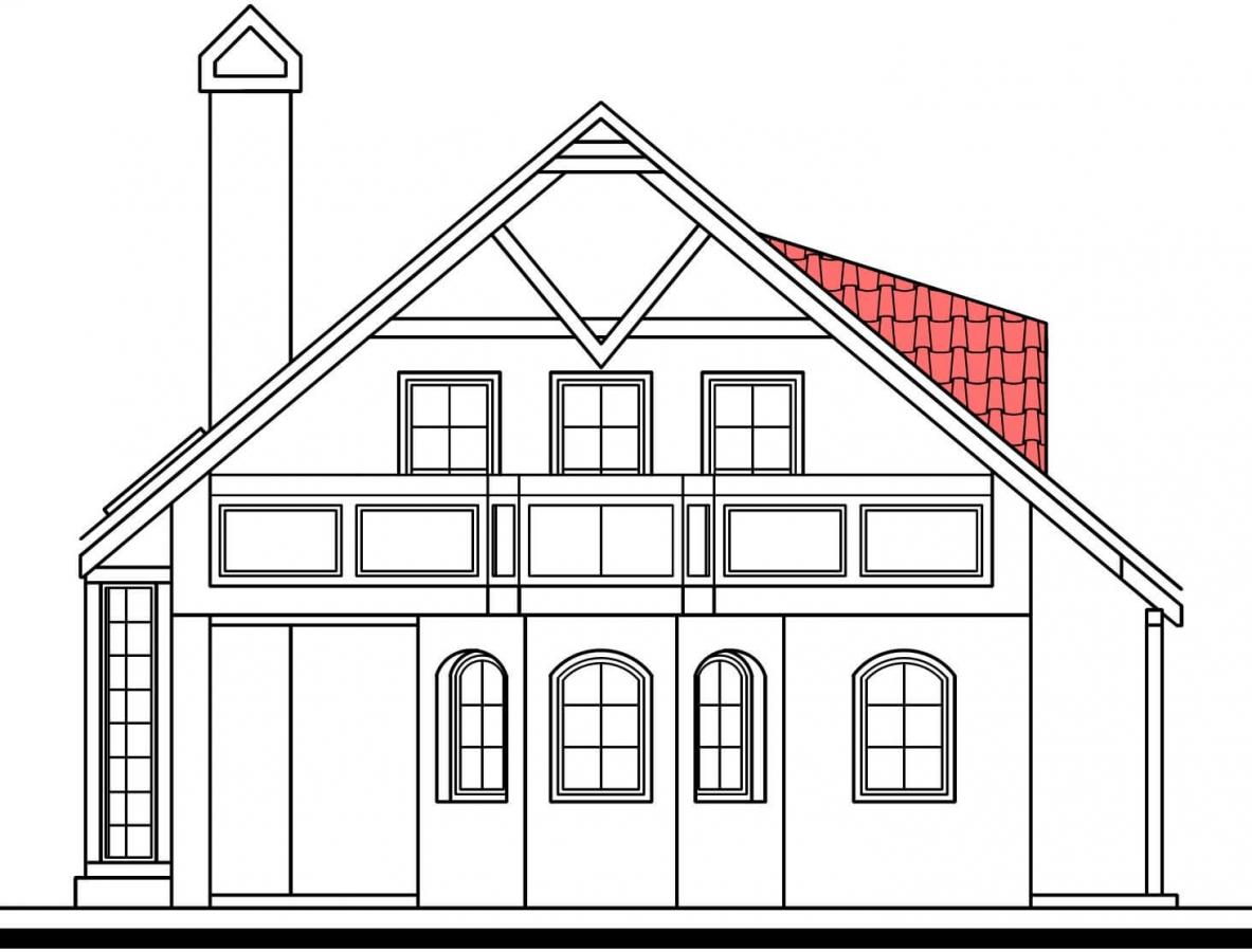 Pohľad 2. - Klasický projekt domu so suterénom, presvetlenou obývacou časťou