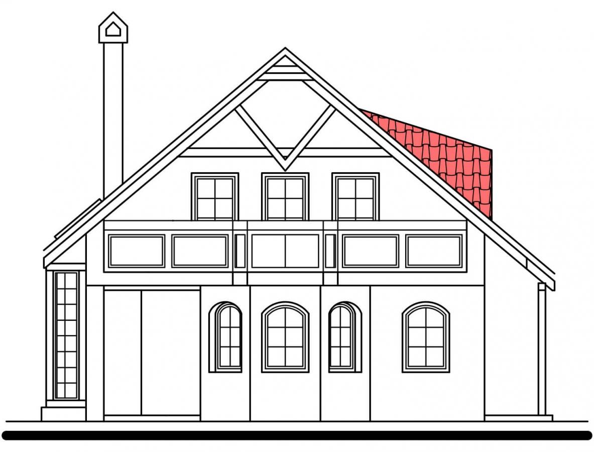 Pohľad 2. - Klasický projekt domu s presvetlenou obývacou časťou.