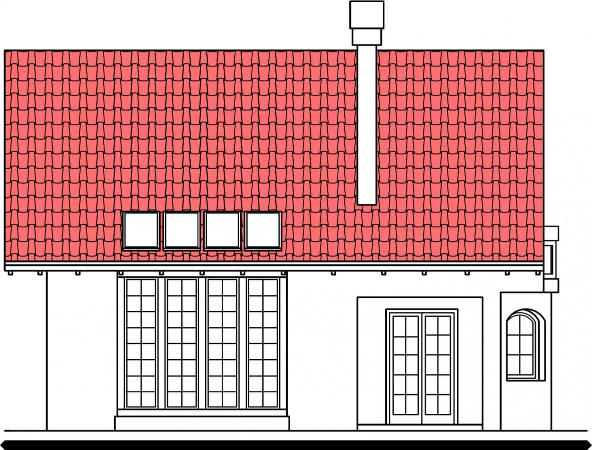 Pohľad 3. - Klasický projekt domu s presvetlenou obývacou časťou.