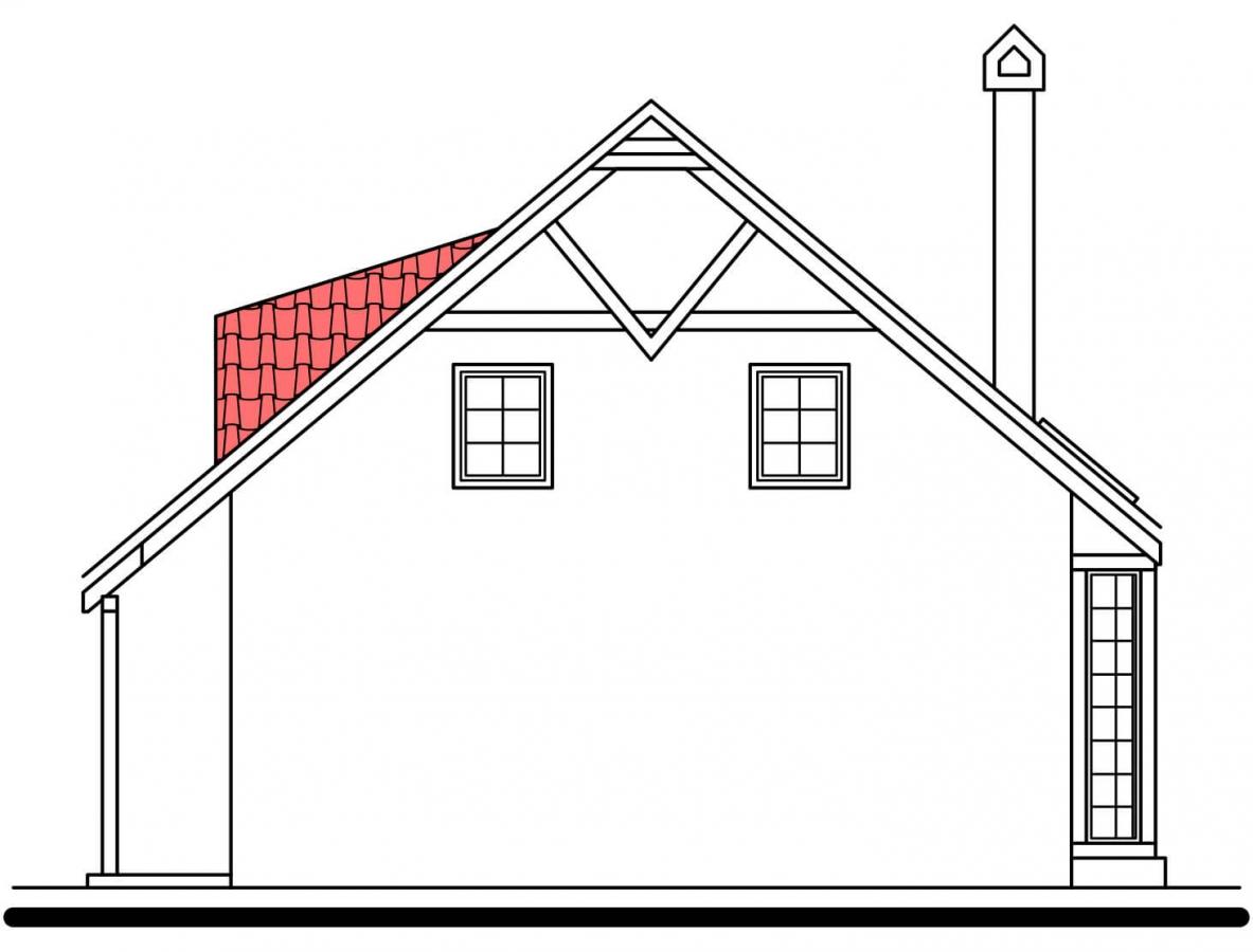 Pohľad 4. - Klasický projekt domu s presvetlenou obývacou časťou.