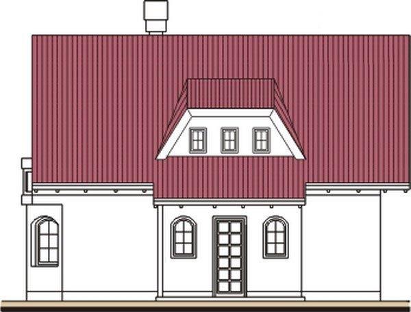 Pohľad 1. - Klasický projekt domu s presvetlenou obývacou časťou