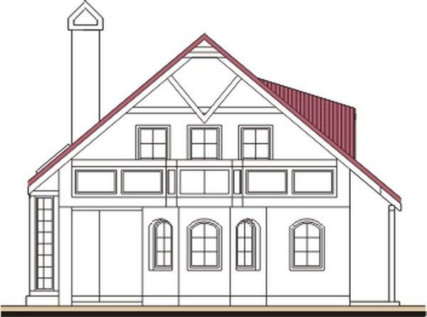 Pohľad 2. - Klasický projekt domu s presvetlenou obývacou časťou