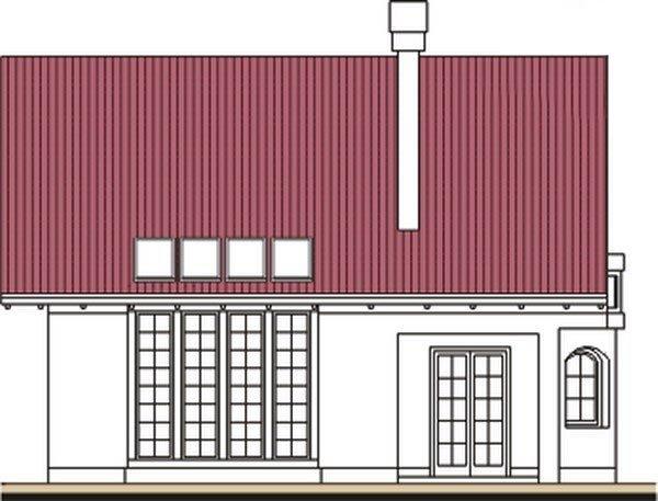 Pohľad 3. - Klasický projekt domu s presvetlenou obývacou časťou