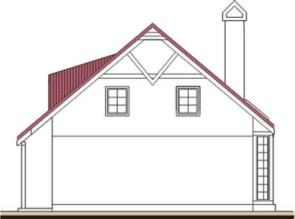 Pohľad 4. - Klasický projekt domu s presvetlenou obývacou časťou