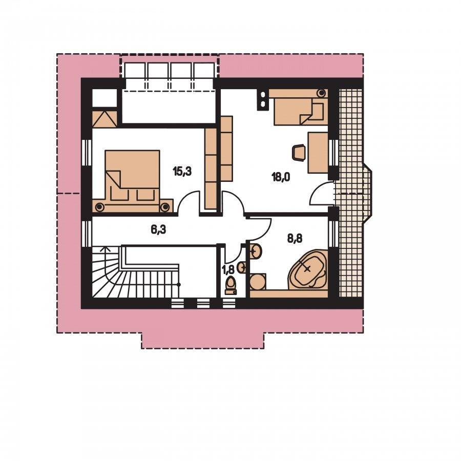 Pôdorys Poschodia - Klasický projekt domu s presvetlenou obývacou časťou