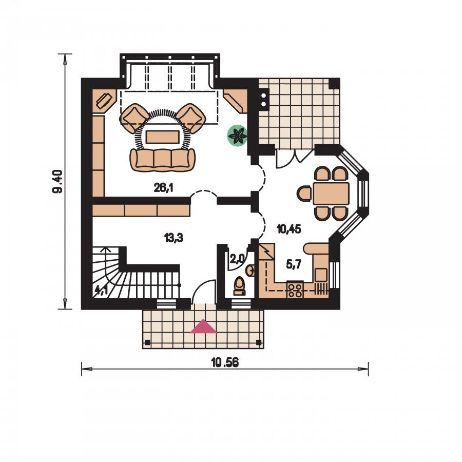 Pôdorys Prízemia - Klasický projekt domu s presvetlenou obývacou časťou
