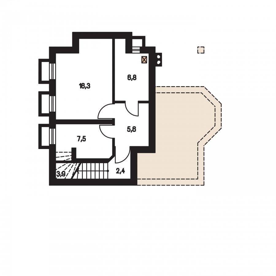 Pôdorys Suterénu - Klasický projekt domu s presvetlenou obývacou časťou