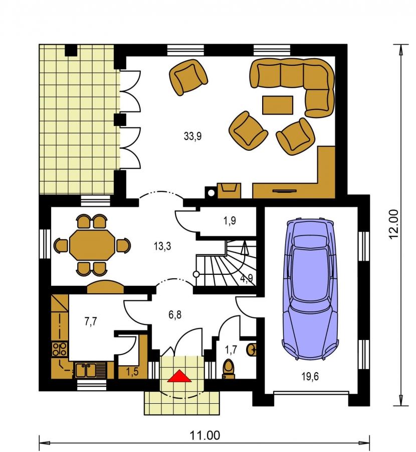 Pôdorys Prízemia - Projekt 5-izbového domu s garážou.