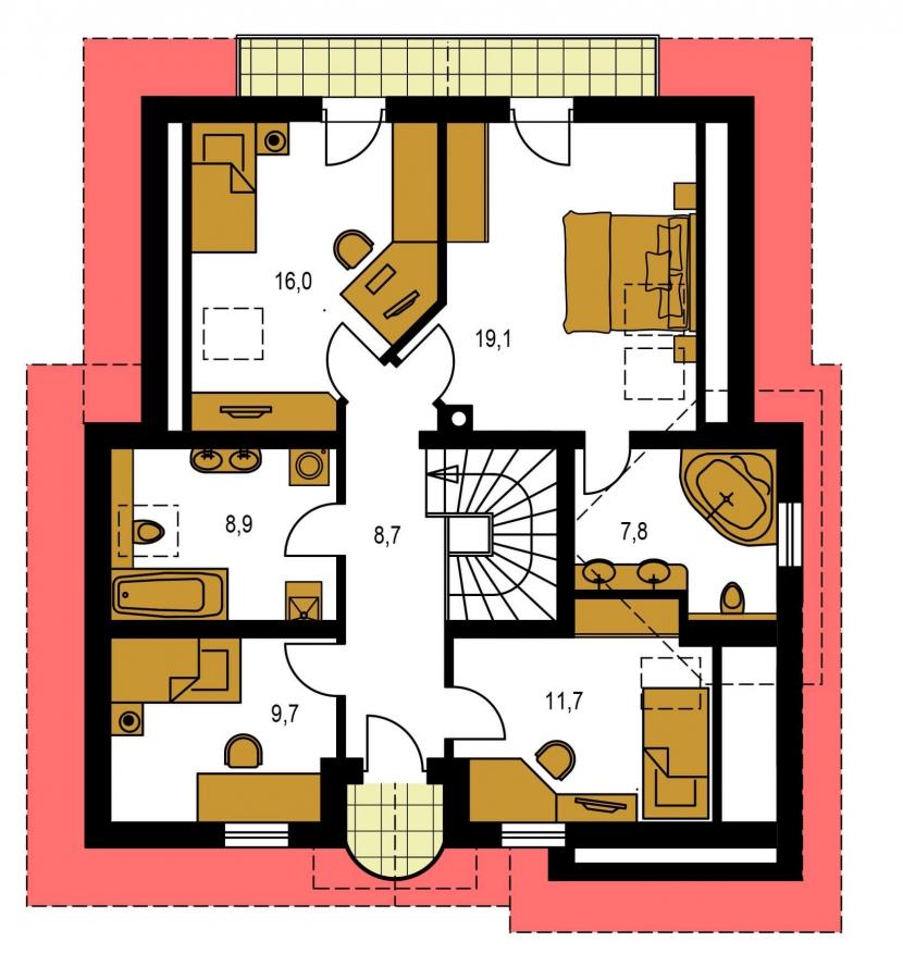 Pôdorys Poschodia - Projekt 5-izbového domu s garážou.