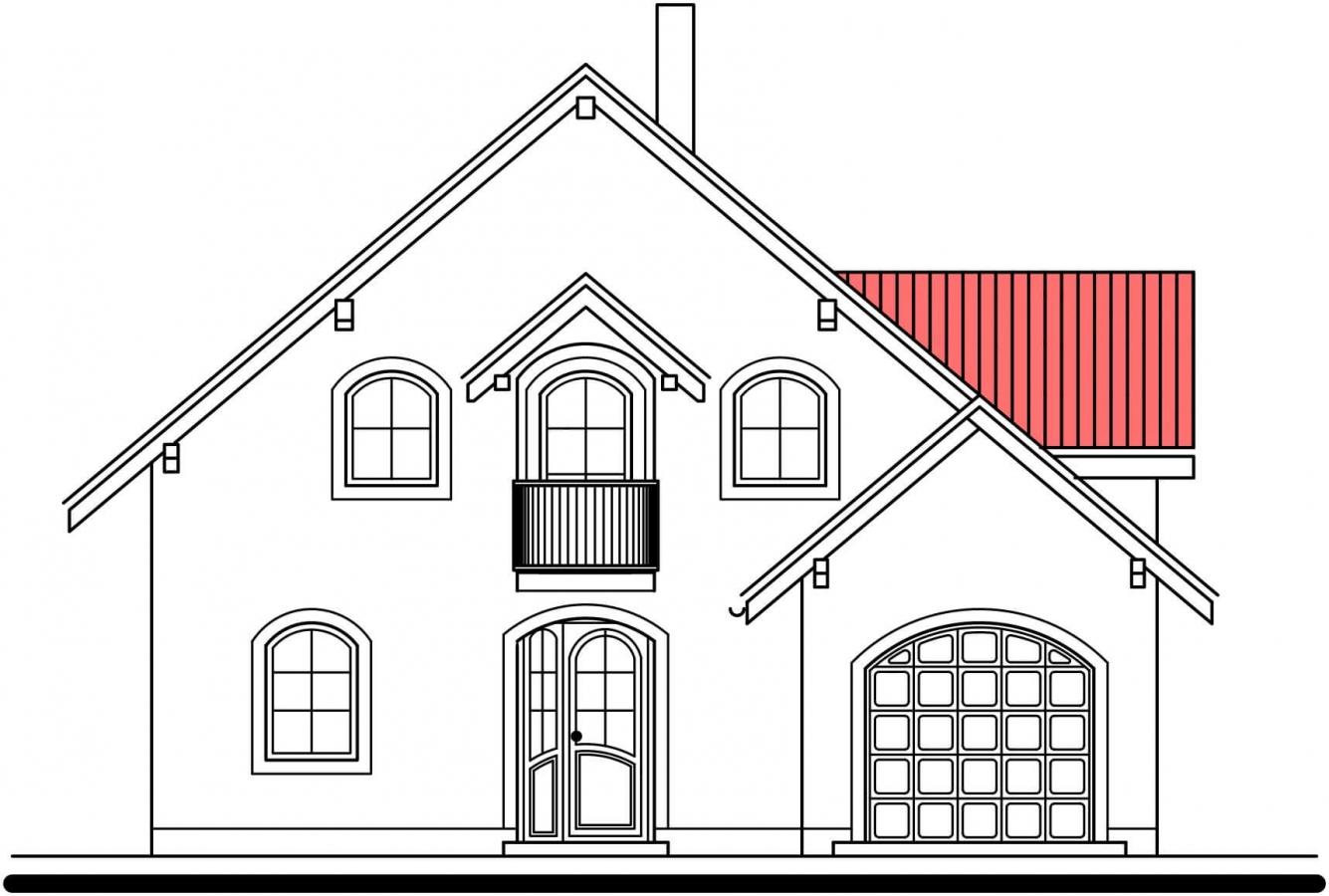 Pohľad 1. - Projekt 5-izbového domu s garážou.