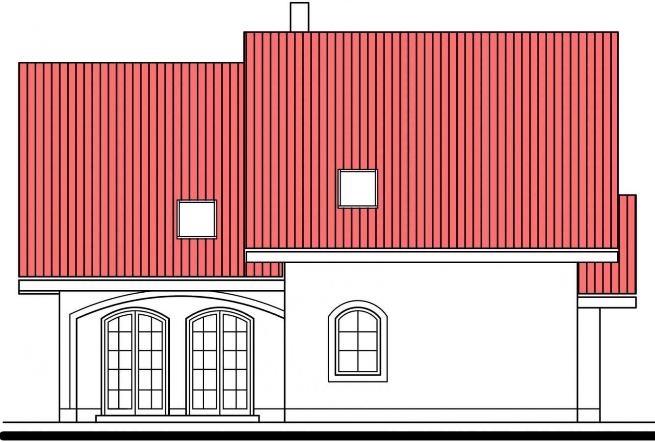Pohľad 2. - Projekt 5-izbového domu s garážou.