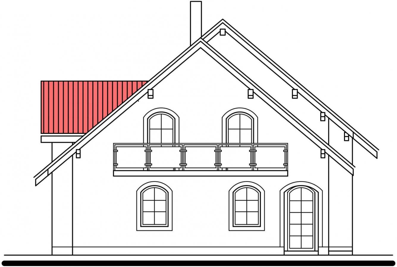 Pohľad 3. - Projekt 5-izbového domu s garážou.