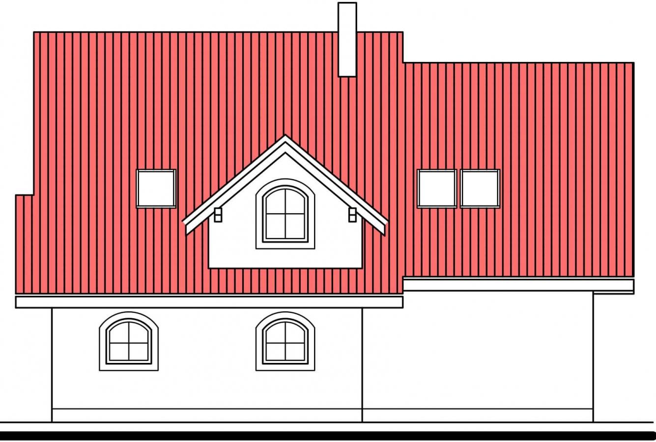 Pohľad 4. - Projekt 5-izbového domu s garážou.