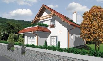 Projekt domu so suterénom na úzky pozemok s garážou.