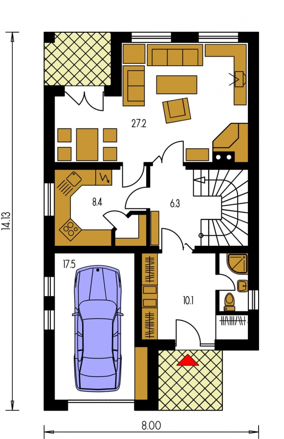Pôdorys Prízemia - Projekt domu na úzky pozemok s garážou