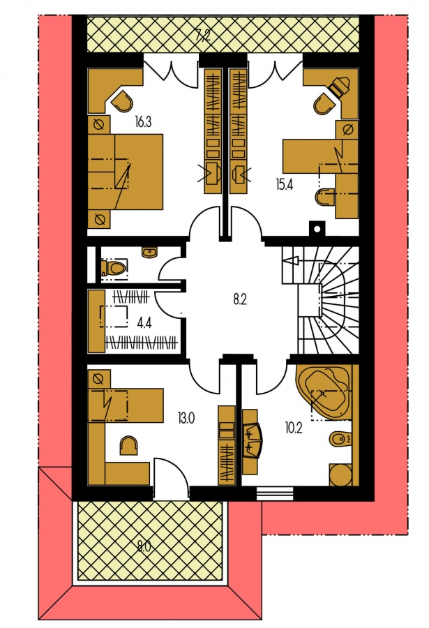 Pôdorys Poschodia - Projekt domu na úzky pozemok s garážou.