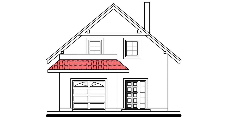 Pohľad 1. - Projekt domu na úzky pozemok s garážou.
