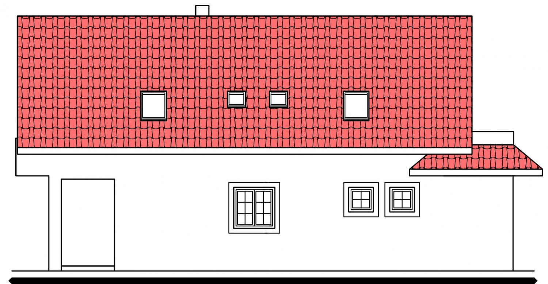 Pohľad 2. - Projekt domu na úzky pozemok s garážou.
