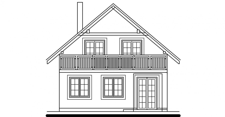 Pohľad 3. - Projekt domu na úzky pozemok s garážou.