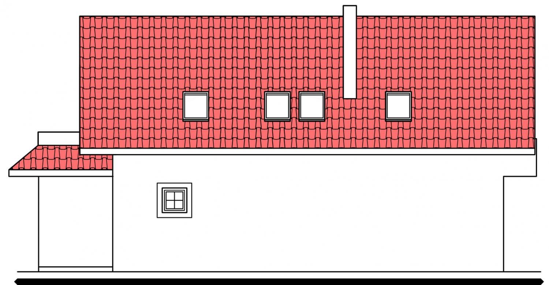 Pohľad 4. - Projekt domu na úzky pozemok s garážou.