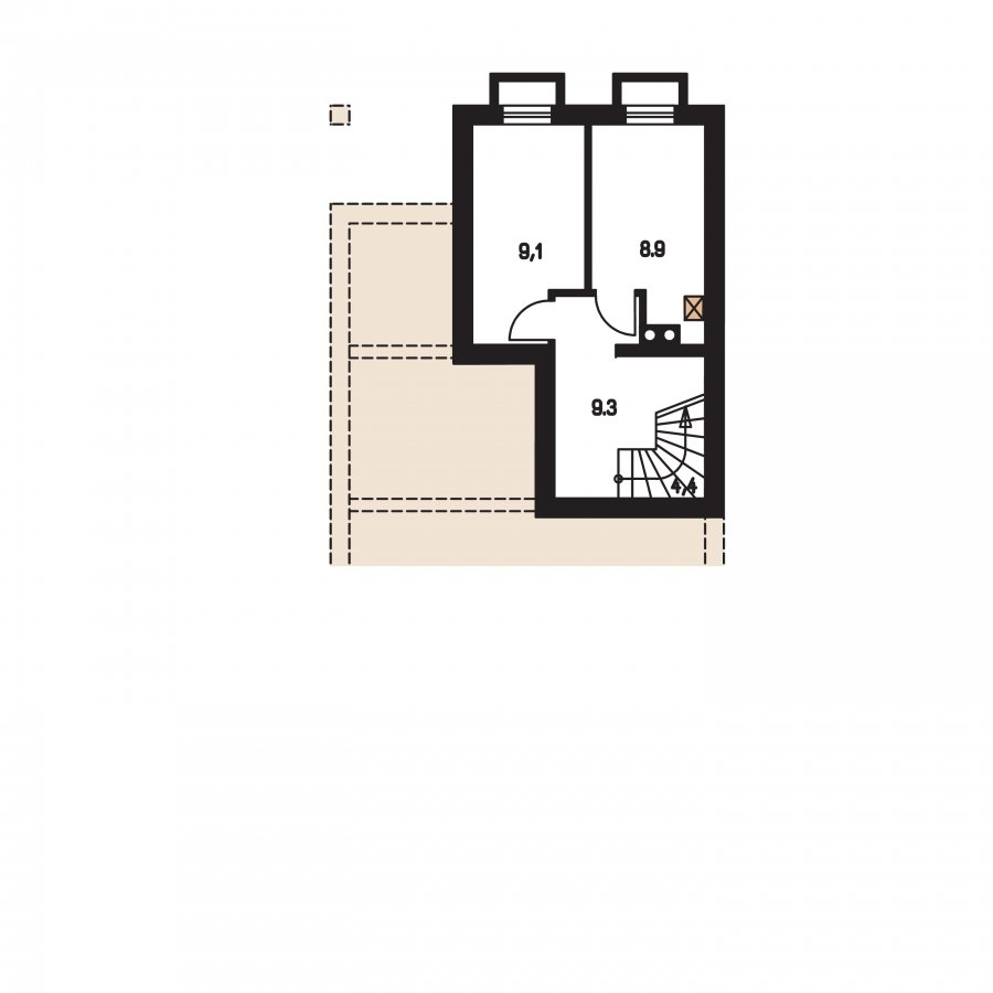 Pôdorys Suterénu - Projekt domu na úzky pozemok s garážou