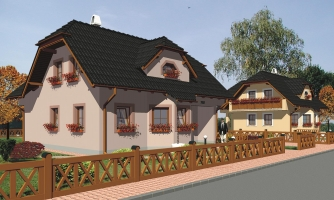 Projekt poschodového domu do tvaru L.