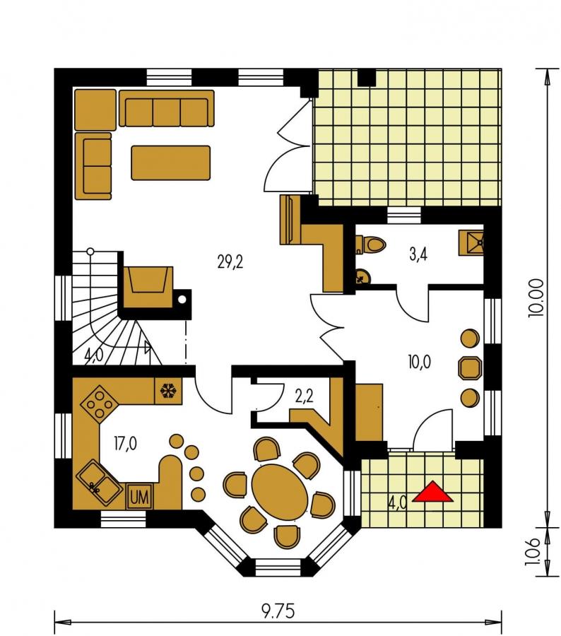 Pôdorys Prízemia - Projekt poschodového domu do tvaru L.