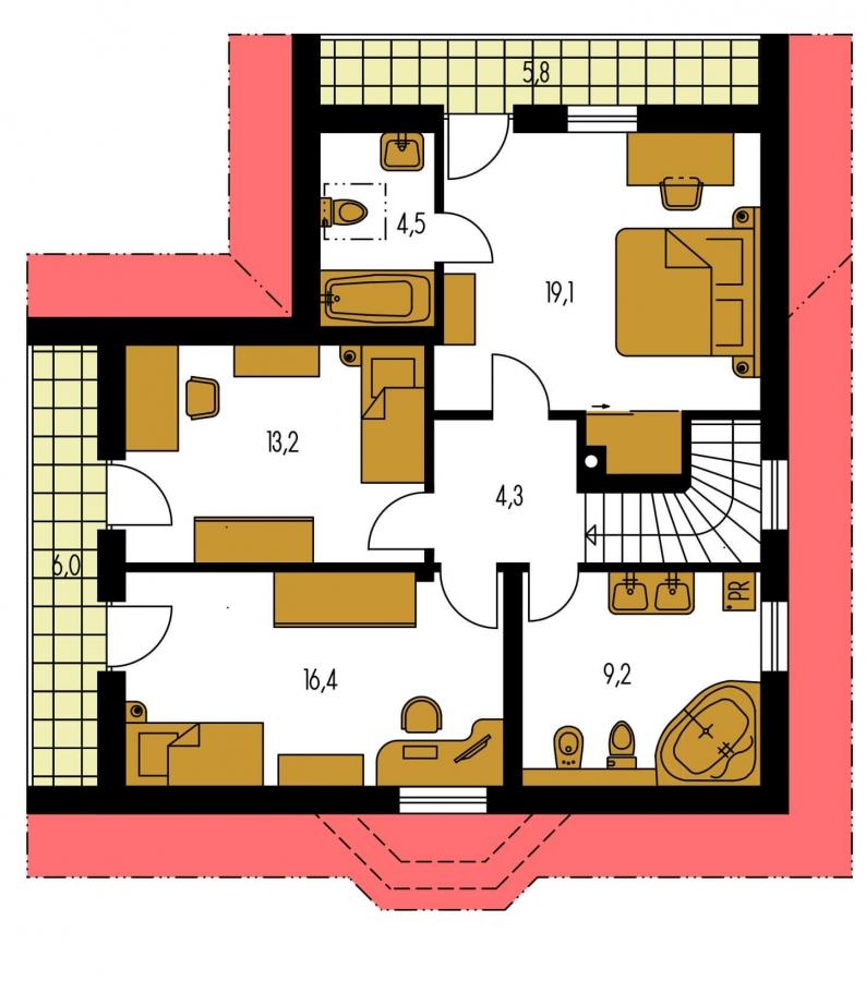 Pôdorys Poschodia - Projekt poschodového domu do tvaru L.