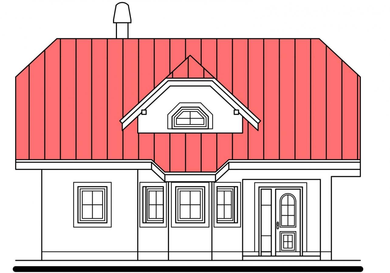Pohľad 1. - Projekt poschodového domu do tvaru L.