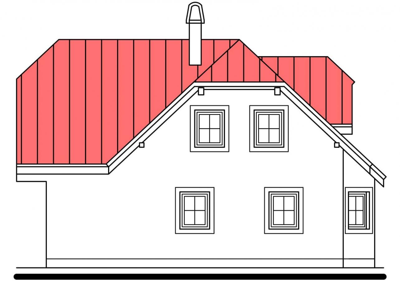 Pohľad 2. - Projekt poschodového domu do tvaru L.