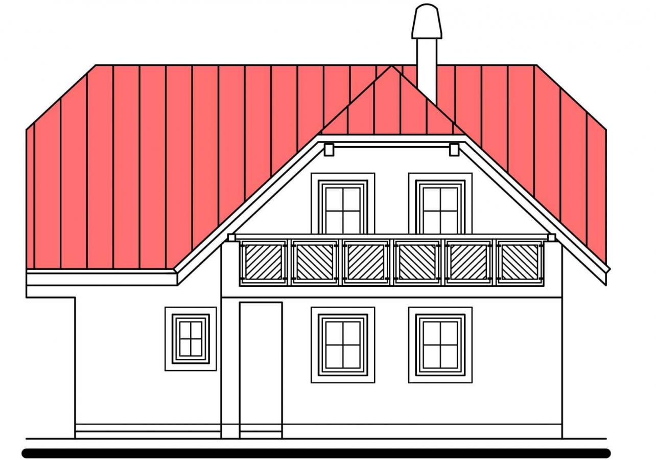Pohľad 3. - Projekt poschodového domu do tvaru L.