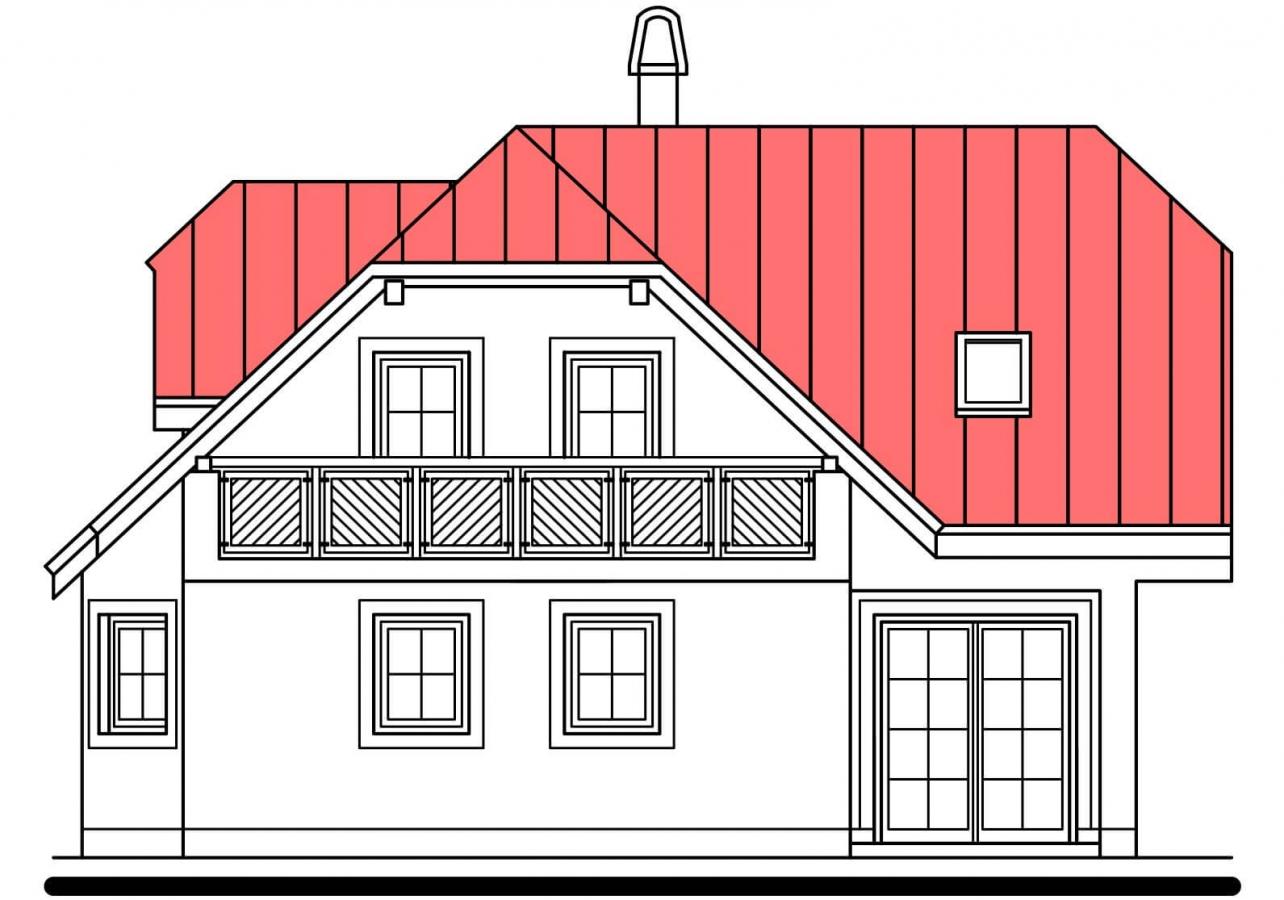 Pohľad 4. - Projekt poschodového domu do tvaru L.
