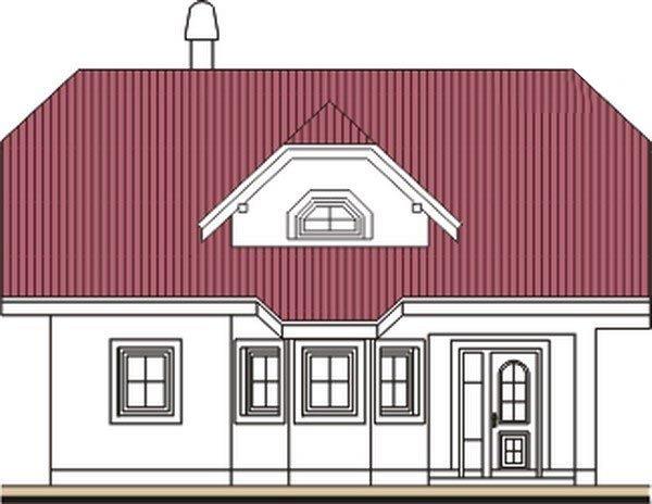 Pohľad 1. - Projekt domu do L s malou terasou
