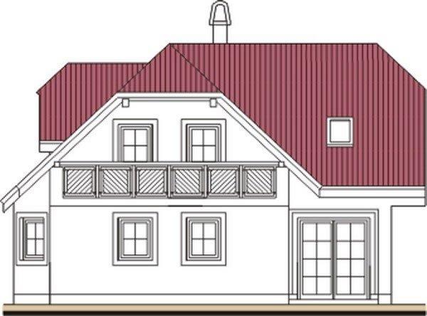 Pohľad 2. - Projekt domu do L s malou terasou