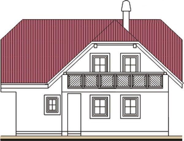 Pohľad 3. - Projekt domu do L s malou terasou