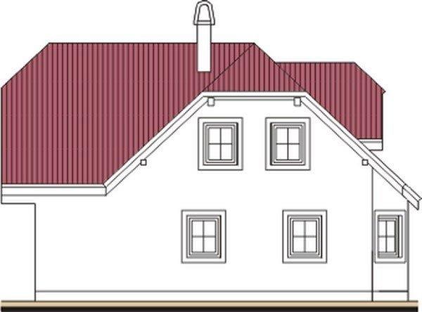 Pohľad 4. - Projekt domu do L s malou terasou