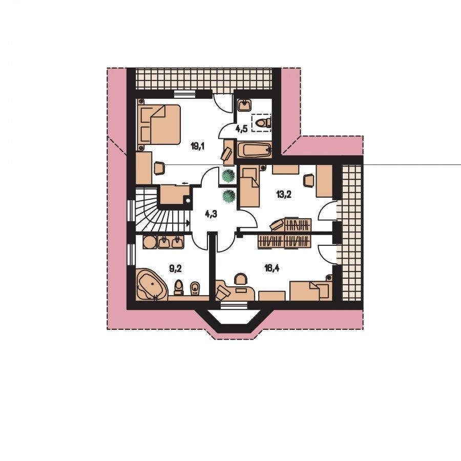 Pôdorys Poschodia - Projekt domu do L s malou terasou