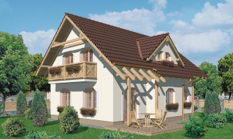 Projekt domu so sedlovou strechou s obytným podkrovím