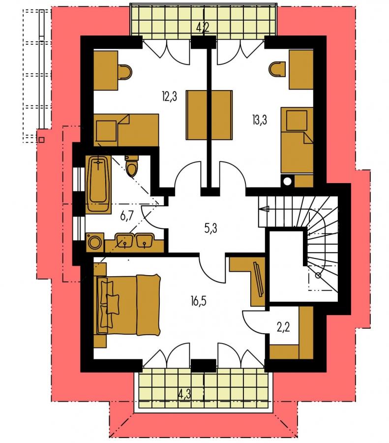 Pôdorys Poschodia - Projekt domu so suterénom a obytným podkrovím