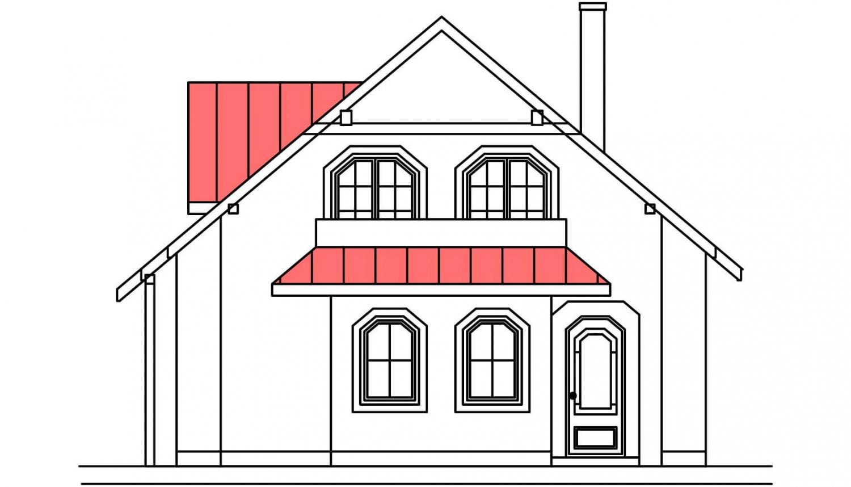 Pohľad 1. - Projekt domu so suterénom a obytným podkrovím