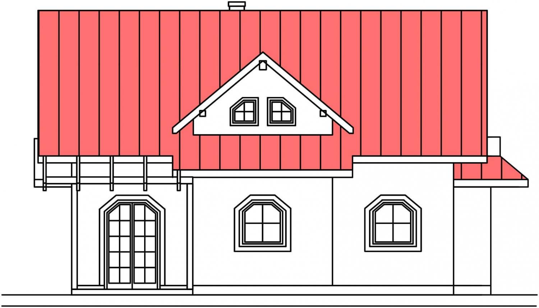 Pohľad 2. - Projekt domu so suterénom a obytným podkrovím