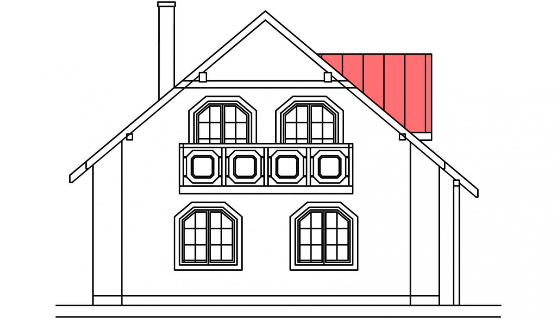 Pohľad 3. - Projekt domu so suterénom a obytným podkrovím