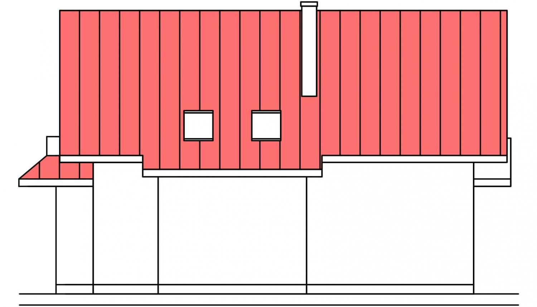 Pohľad 4. - Projekt domu so suterénom a obytným podkrovím