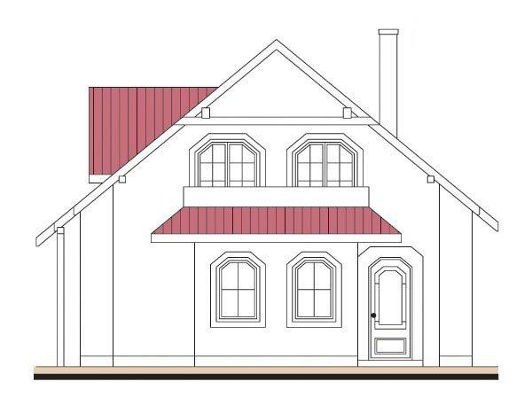 Pohľad 1. - Projekt domu so sedlovou strechou s obytným podkrovím