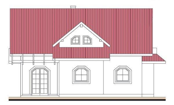 Pohľad 2. - Projekt domu so sedlovou strechou s obytným podkrovím
