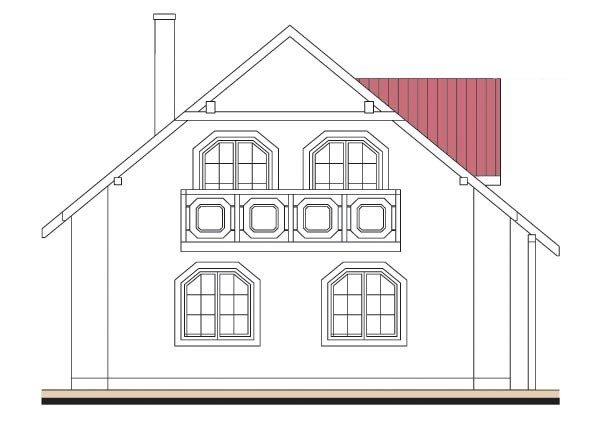 Pohľad 3. - Projekt domu so sedlovou strechou s obytným podkrovím