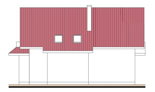 Pohľad 4. - Projekt domu so sedlovou strechou s obytným podkrovím