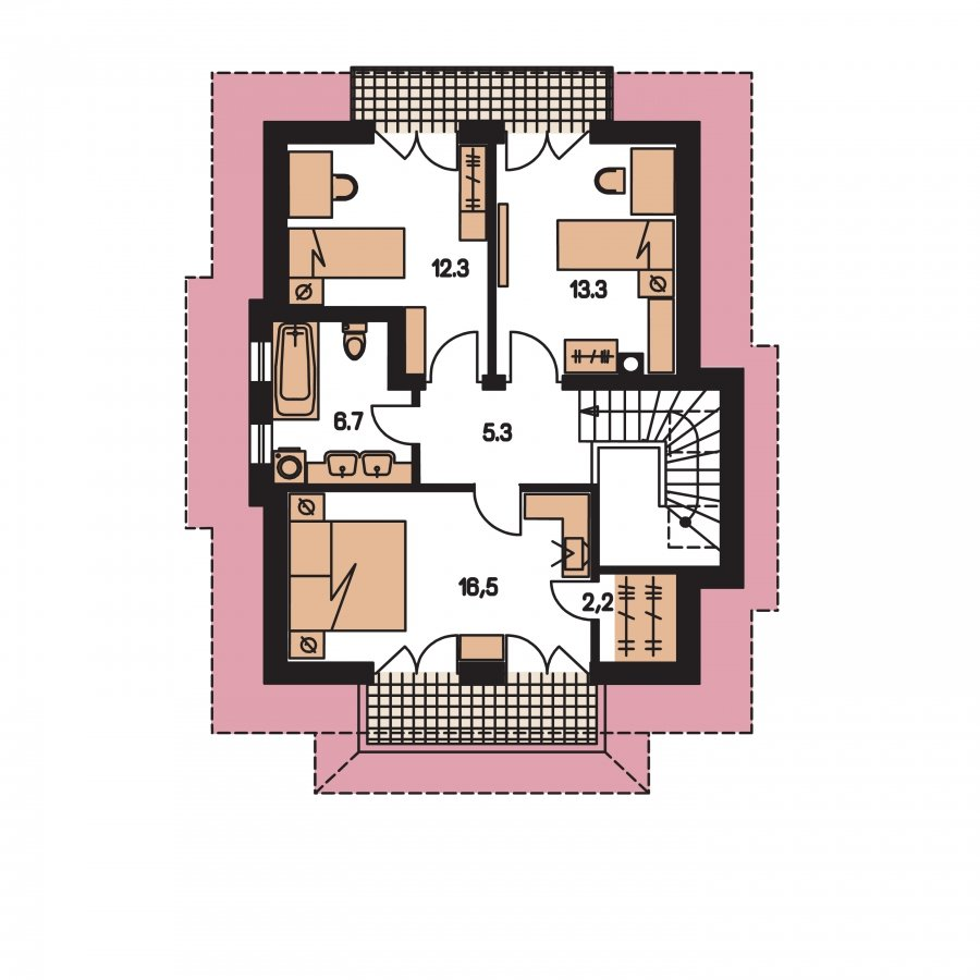 Pôdorys Poschodia - Projekt domu so sedlovou strechou s obytným podkrovím