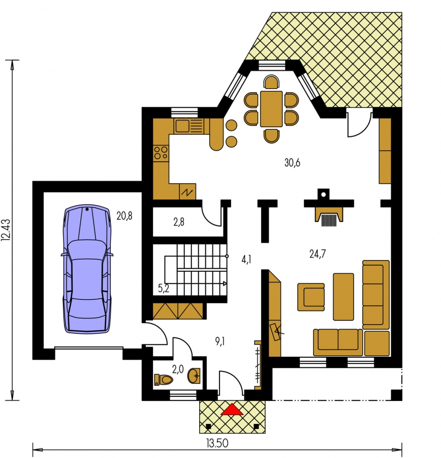 Pôdorys Prízemia - Podkrovný dom s garážou, vhodný aj ako dvojdom pri spojení garážami.