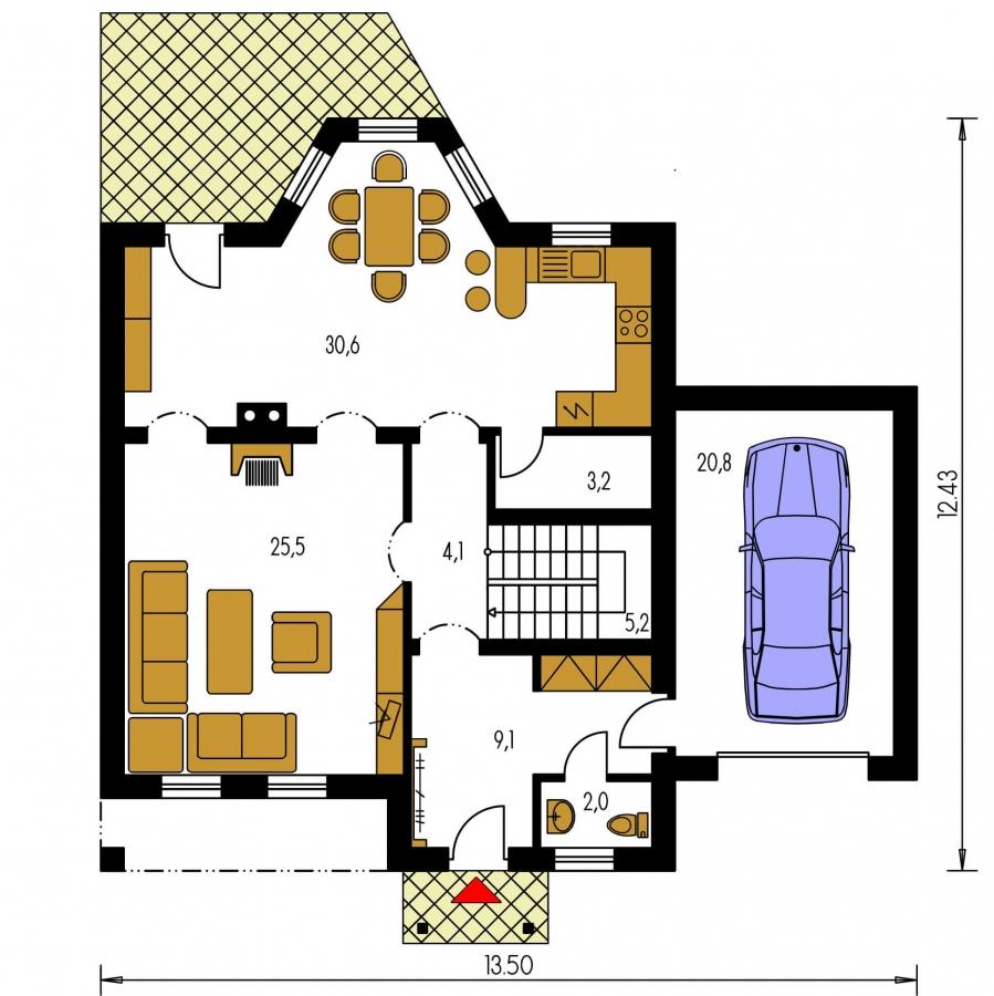 Pôdorys Prízemia - Podkrovný dom so suterénom a garážou, vhodný aj ako dvojdom.